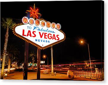 Welcome To Las Vegas - Neon Sign Canvas Print by Gregory Ballos