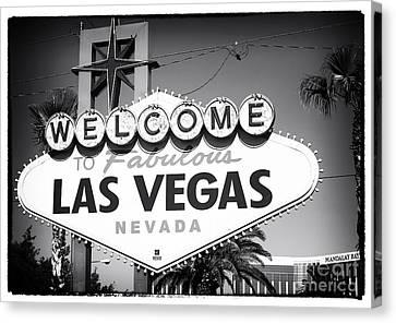 Welcome To Las Vegas Noir Canvas Print by John Rizzuto