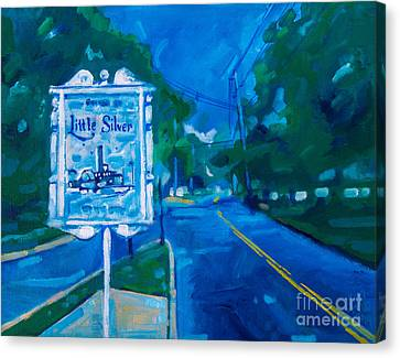 Canvas Print featuring the painting Welcome To Little Silver by Michael Ciccotello