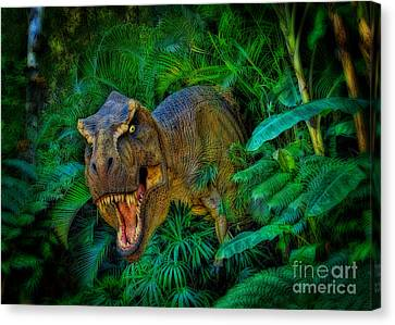 Welcome To My Park Tyrannosaurus Rex Canvas Print by Olga Hamilton