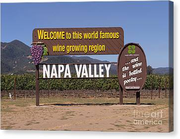 Napa Valley And Vineyards Canvas Print - Welcome To Napa Valley California Dsc1681 by Wingsdomain Art and Photography