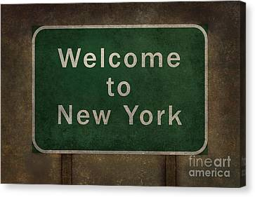 Welcome To New York Highway Road Side Sign Canvas Print