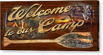 Welcome To Our Camp Sign Canvas Print by Jim Hansel