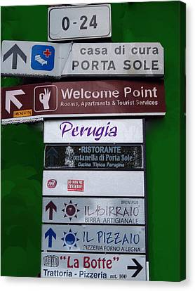 Welcome To Perugia Canvas Print by Caroline Stella