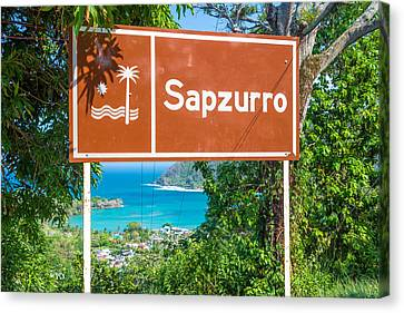 Welcome To Sapzurro Sign Canvas Print by Jess Kraft