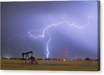 Weld County Dacona Oil Fields Lightning Thunderstorm Canvas Print by James BO  Insogna