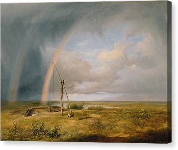 Well Against A Rainbow Canvas Print