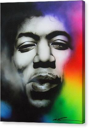 Close Up Canvas Print - Jimi Hendrix - ' Well I Stand Up Next To A Mountain ' by Christian Chapman Art