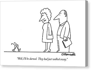 Aging Canvas Print - Well, I'll Be Darned. They Had Just Walked Away by Charles Barsotti
