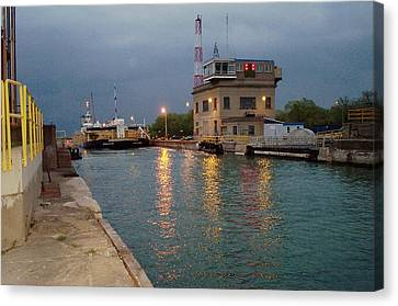 Canvas Print featuring the photograph Welland Canal Locks by Barbara McDevitt