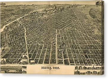 Wellge's Birdseye Map Of Denver Colorado - 1889 Canvas Print