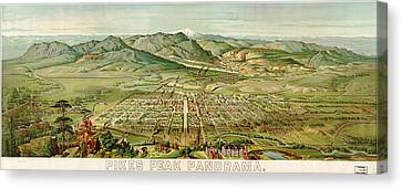 Wellge's Colorado Springs Birdseye Map - 1890 Canvas Print by Eric Glaser