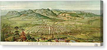 Wellge's Colorado Springs Birdseye Map - 1890 Canvas Print