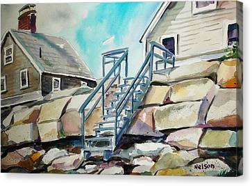Scott Nelson Canvas Print - Wells Beach Beach Stairs by Scott Nelson
