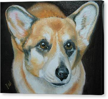 Canvas Print featuring the painting Welsh Corgi by Thomas J Herring
