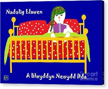 Canvas Print featuring the digital art Welsh Snowman Bedtime  by Barbara Moignard