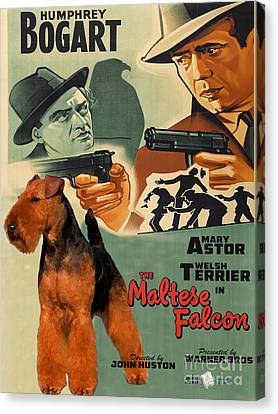 Welsh Terrier Art Canvas Print - The Maltese Falcon Movie Poster Canvas Print