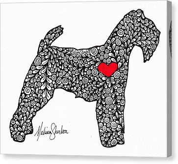 Canvas Print featuring the drawing Welsh Terrier by Melissa Sherbon