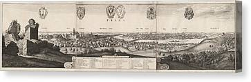 Wenceslaus Hollar, The Great View Of Prague Canvas Print by Litz Collection