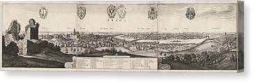 Wenceslaus Hollar, The Great View Of Prague Canvas Print by Quint Lox
