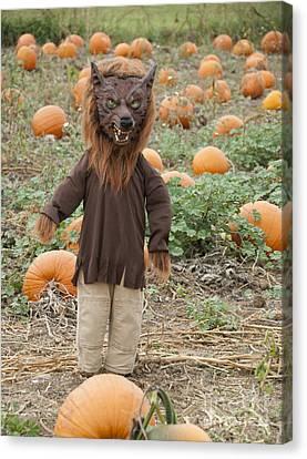 Frightening Canvas Print - Werewolf In The Pumpkin Patch by Juli Scalzi