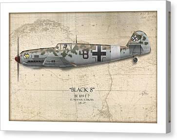 Werner Schroer Messerschmitt Bf-109 - Map Background Canvas Print by Craig Tinder