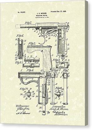 Wesson Pistol 1898 Patent Art Canvas Print by Prior Art Design