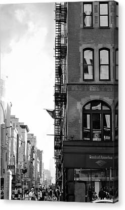 Fire Escape Canvas Print - West 23rd Street Bw by Laura Fasulo