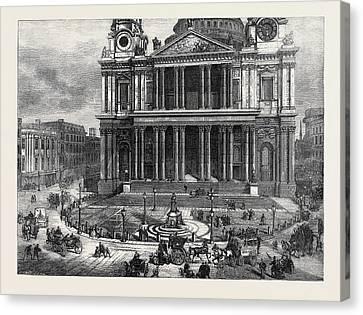 West Area Of St Pauls Churchyard London 1874 Canvas Print