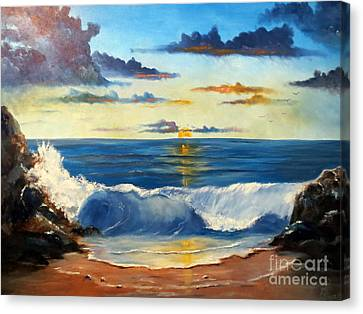 Canvas Print featuring the painting West Coast Sunset by Lee Piper