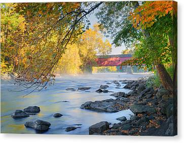 West Cornwall Covered Bridge Autumn Canvas Print by Bill Wakeley
