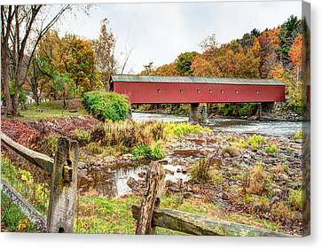 Litchfield County Canvas Print - West Cornwall Covered Bridge - Housatonic River  by Gary Heller