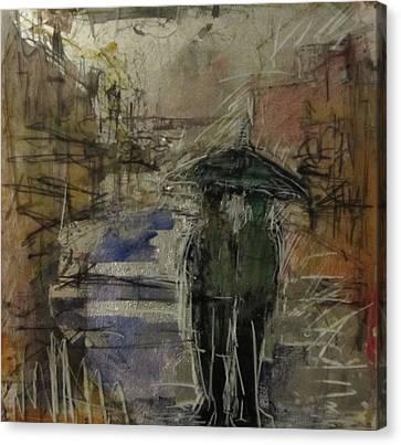 West End Rain Canvas Print by Debbie Clarke