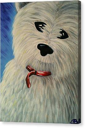 West Highland White Scottish Terrier Canvas Print by Beril Sirmacek