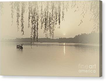 West Lake Sunset Canvas Print by Charline Xia