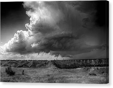Canvas Print featuring the photograph West Lethbridge Storm - Bw by Trever Miller