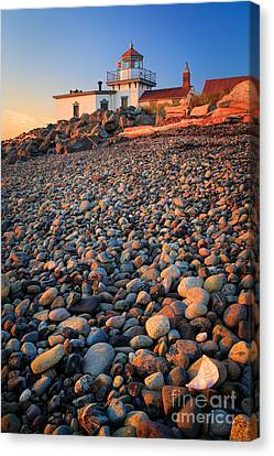 West Point Lighthouse Rocks Canvas Print by Inge Johnsson