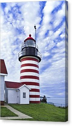 West Quoddy Head Lighthouse And Clouds Canvas Print by Marty Saccone