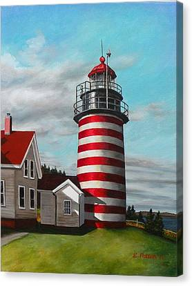 West Quoddy Head Lighthouse Canvas Print by Eileen Patten Oliver