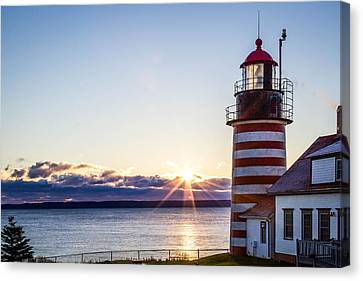 West Quoddy Head Lighthouse Sunrise  Canvas Print by Trace Kittrell