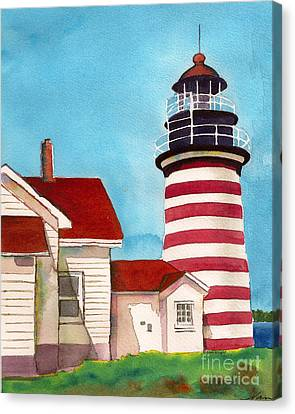 Canvas Print featuring the painting West Quoddy Light House by Nan Wright