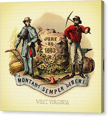 West Virginia Coat Of Arms - 1876 Canvas Print by Mountain Dreams