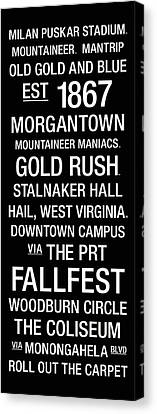 Word Art Canvas Print - West Virginia College Town Wall Art by Replay Photos