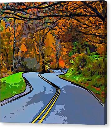 West Virginia Curves 2 Line Art Canvas Print by Steve Harrington