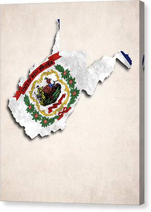 World Map Canvas Print - West Virginia Map Art With Flag Design by World Art Prints And Designs