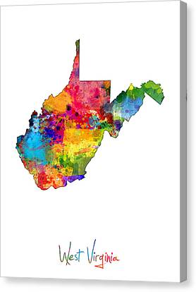 West Virginia Map Canvas Print by Michael Tompsett