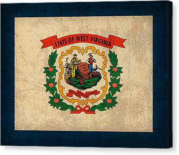 West Virginia State Flag Art On Worn Canvas Canvas Print by Design Turnpike