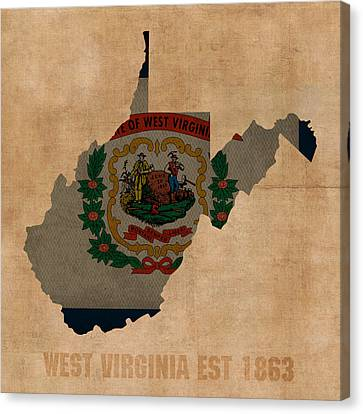 West Virginia State Flag Map Outline With Founding Date On Worn Parchment Background Canvas Print