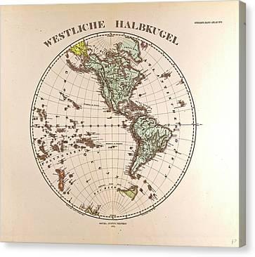 Westen Hemispheregotha Justus Perthes 1872 Atlas Canvas Print