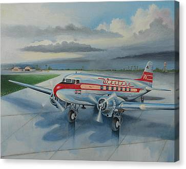 Western Airlines Dc-3 Canvas Print by Stuart Swartz